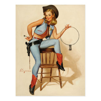 Cowgirl Pin-up Girl Postcard
