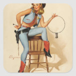 Cowgirl Pin-up Girl Square Sticker