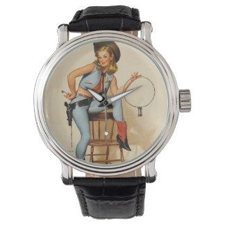 Cowgirl Pin-up Girl Wrist Watch