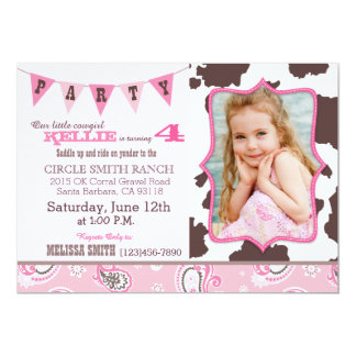Cowgirl Pink Bandanna Western Theme Birthday 5x7 Paper Invitation Card