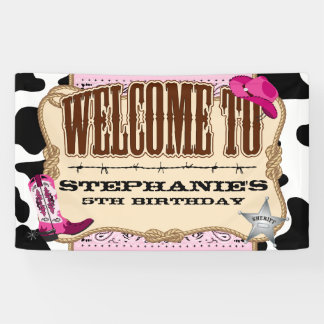 Cowgirl, Pink Birthday, Welcome Banner