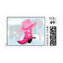 Cowgirl Pink Boot, Hat and Horse Western Design Postage