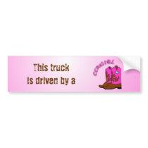 Cowgirl, Pink Boots Art Design Bumper Sticker
