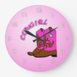 Cowgirl Pink Boots Girl's Bedroom Wall Clock