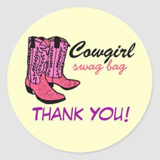 Cowgirl Pink Boots Thank You Classic Round Sticker