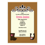 Cowgirl Pink Trendy Cowboy Boot Country Invitation