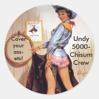 Cowgirl pinup round sticker