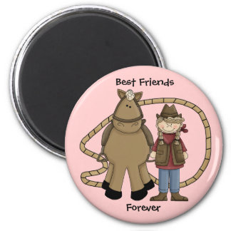 Cowgirl Pony Best Friends Forever - Western Magnets