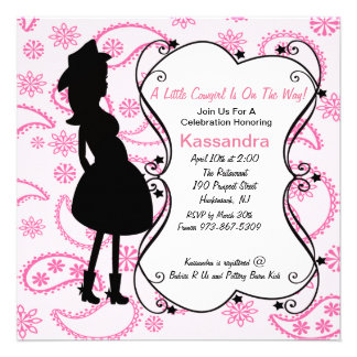 Cowgirl Pregnant Mama to Be Baby Shower Invitation
