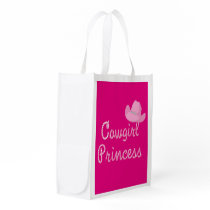 Cowgirl Princess And Pink Cowboy Hats Western Grocery Bag