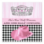 "Cowgirl Princess Birthday Party 5.25"" Square Invitation Card"