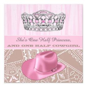 Cowgirl Princess Birthday Party 5.25x5.25 Square Paper Invitation Card