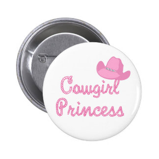 Cowgirl Princess With Pink Hat Pinback Button