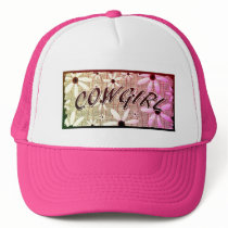 Cowgirl Purple Yellow Pink  Flowers Trucker Hat