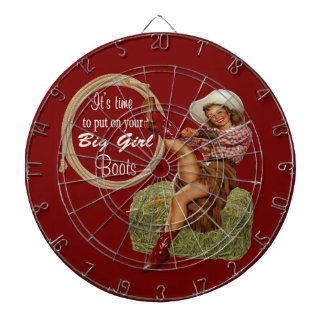 Cowgirl Put On You Big Boots Dartboard With Darts