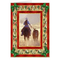 Cowgirl Quarter Horse Blank Christmas Card