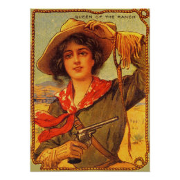 """Cowgirl """"Queen of the Ranch"""" Vintage Poster"""