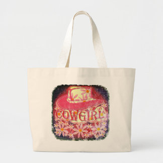 Cowgirl (Raspberry pink Eroded Design) Tote Bags