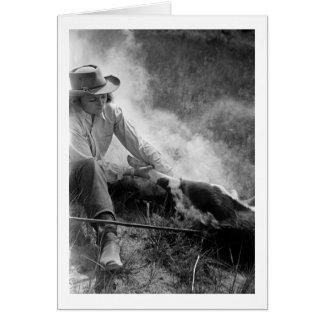 Cowgirl Rassling a Calf, 1930s Card