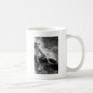 Cowgirl Rassling a Calf, 1930s Coffee Mug