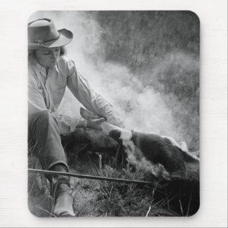 Cowgirl Rassling a Calf, 1930s Mouse Pad