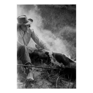 Cowgirl Rassling a Calf, 1930s Poster