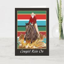 Cowgirl Rein On Blank Card