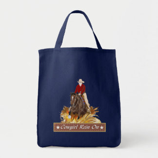 Cowgirl Rein On Grocery Tote Bag