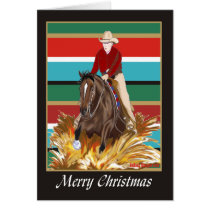 Cowgirl Reinging Horse Blank Christmas Card