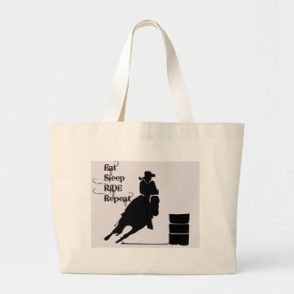 Cowgirl Ride and Repeat Large Tote Bag
