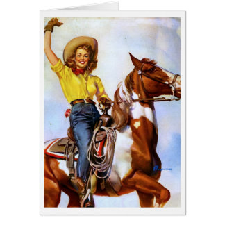 Cowgirl Rider Pin Up Card