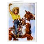 Cowgirl Rider Pin Up Greeting Card