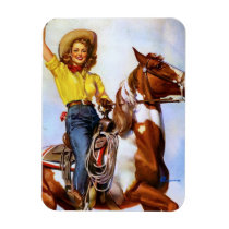 Cowgirl Rider Pin Up Magnet