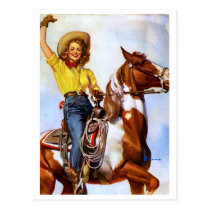 Cowgirl Rider Pin Up Postcard