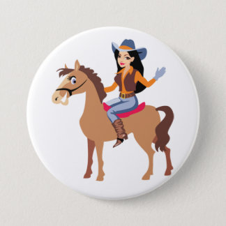 Cowgirl Riding A Horse Button