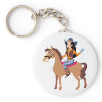 Cowgirl Riding A Horse Keychain