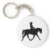 Cowgirl Riding Her Horse Keychain