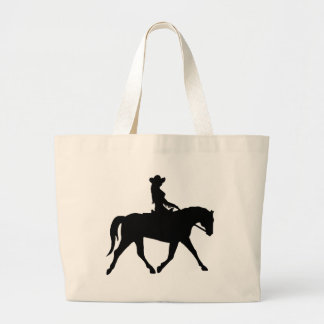 Cowgirl Riding Her Horse Large Tote Bag