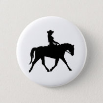 Cowgirl Riding Her Horse Pinback Button