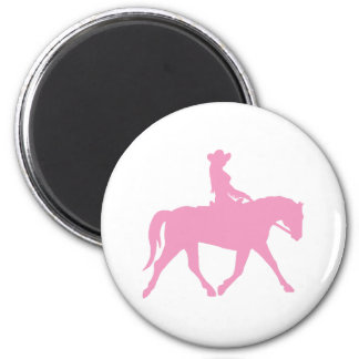 Cowgirl Riding Her Horse (pink) 2 Inch Round Magnet