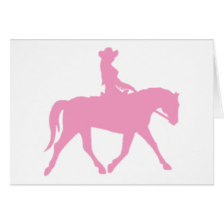 Cowgirl Riding Her Horse (pink) Card