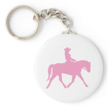 Cowgirl Riding Her Horse (pink) Keychain