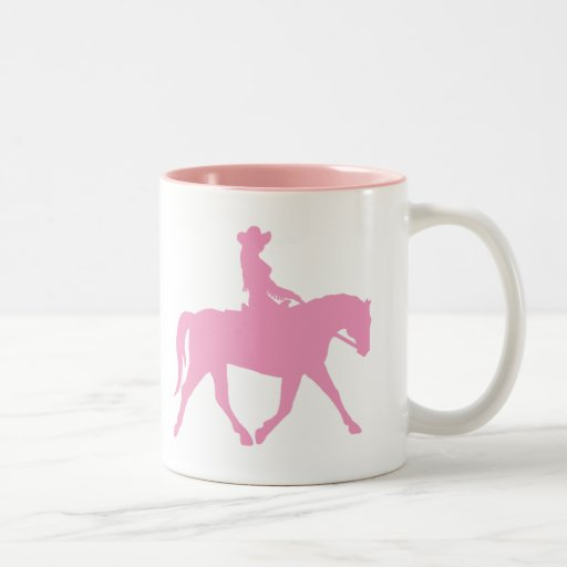 Cowgirl Riding Her Horse (pink) Mugs