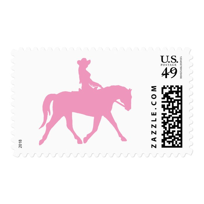 Cowgirl Riding Her Horse (pink) Postage Stamp