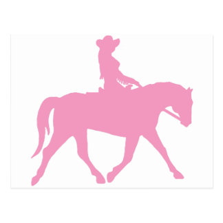 Cowgirl Riding Her Horse (pink) Postcard