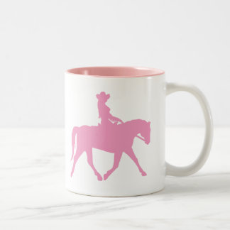 Cowgirl Riding Her Horse (pink) Two-Tone Coffee Mug