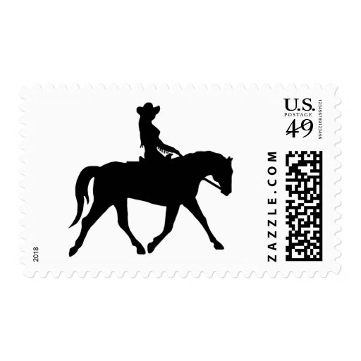 Cowgirl Riding Her Horse Postage