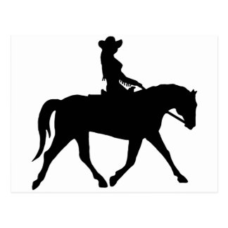 Cowgirl Riding Her Horse Postcard
