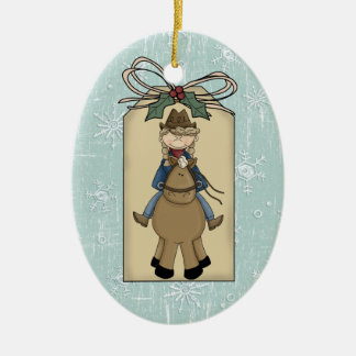 Cowgirl Riding Horse Gift Tag Keepsake Double-Sided Oval Ceramic Christmas Ornament
