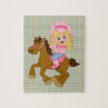 Cowgirl Riding Horse (pink) Jigsaw Puzzles